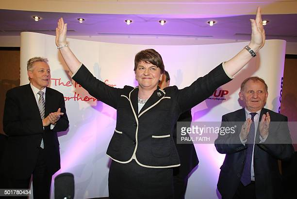 Arlene Foster, Northern Ireland Finance Minister smiles at a hotel in Belfast after being elected leader of the Democratic Unionist Party on December...