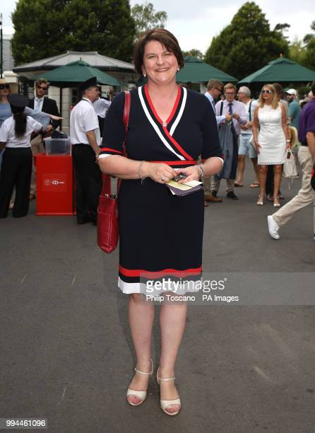 Arlene Foster on day seven of the Wimbledon Championships at the All England Lawn Tennis and Croquet Club Wimbledon