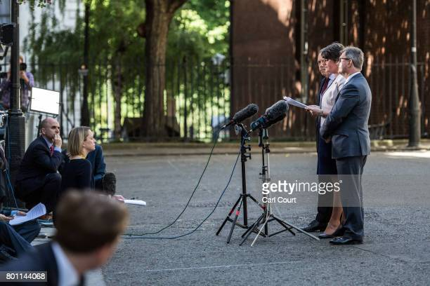 Arlene Foster the leader of Northern Ireland's Democratic Unionist Party party deputy leader Nigel Dodds and MP Jeffrey Donaldson speak to the media...