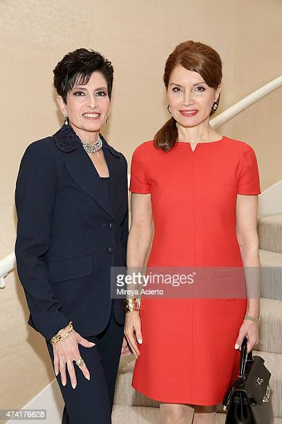 """Arlene Lazare and Jean Shafiroff attends the 2015 Samuel Waxman Cancer Research Foundation's """"Collaborating for a Cure High Tea"""" at a Private..."""