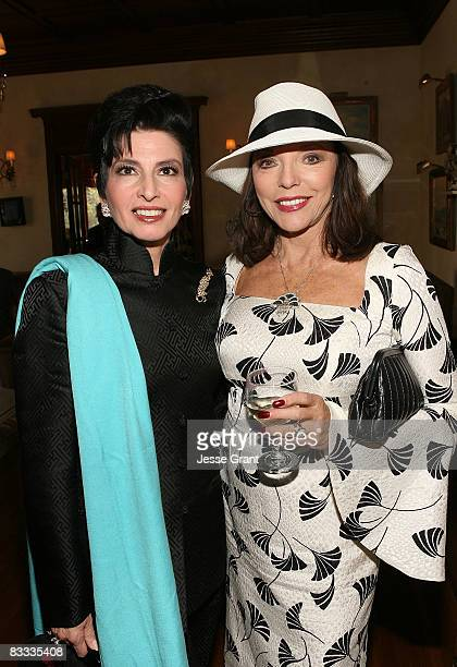 Arlene Lazare and Joan Collins attend the wedding of Michael Feinstein and Terrence Flannery held at a private residence on October 17, 2008 in Los...