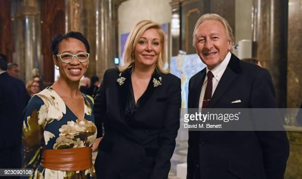 Arlene Martin Nadja Swarovski and Harold Tillman attend The Commonwealth Fashion Exchange exhibition at Australia House in partnership with Swarovski...