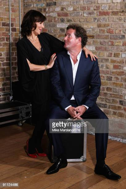 Arlene Phillips and Piers Morgan pose ahead of the performance at the Newsroom�s Got Talent event held in aid of Leonard Cheshire Disability and...