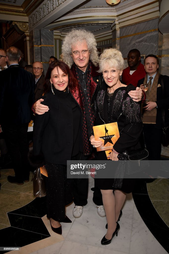Arlene Phillips, Brian May and Anita Dobson attend the press night performance of 'Hamilton' at The Victoria Palace Theatre on December 21, 2017 in London, England.