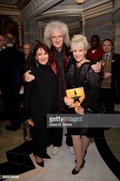 Arlene Phillips Brian May and Anita Dobson attend the press night performance of 'Hamilton' at The Victoria Palace Theatre on December 21 2017 in...