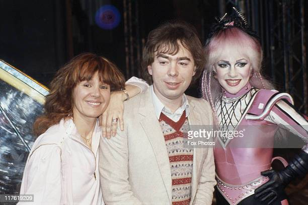 Arlene Phillips British choreographer Andrew LloydWebber British composer and Stephanie Lawrence British actress posing for a group portrait at their...
