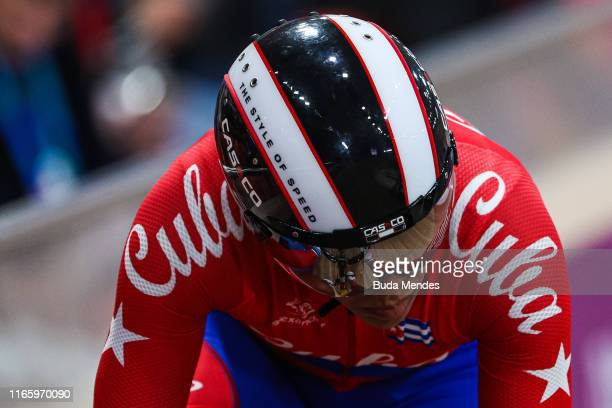 Arlenis Sierra Cañadilla of Cuba competes in Omnium Women Points Race Finals at Velodrome of VIDENA on Day 8 of Lima 2019 Pan American Games on...