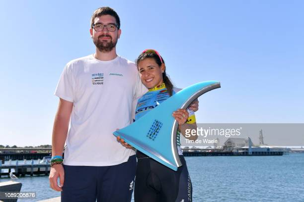 Arlenis Sierra of Cuba and Astana Women's Team / Pierangelo Dal Colle of Italy Trainer of Astana Women's Team / Celebration / Trophy / Sea / during...