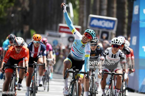 Arlenis Sierra of Cuba and the Astana Womens Team celebrates after winning stage three of the Amgen Tour of California Women's Race Empowered with...