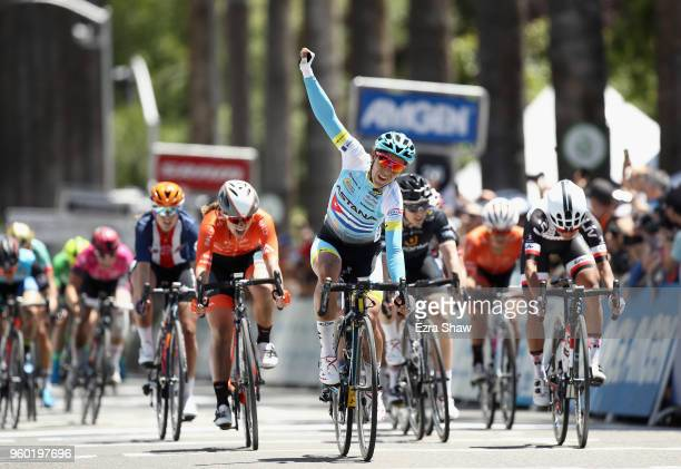 Arlenis Sierra of Cuba riding for Astana Women's Team reacts after winning Stage 3 of the Amgen Tour of California Women's Race Empowered with SRAM...