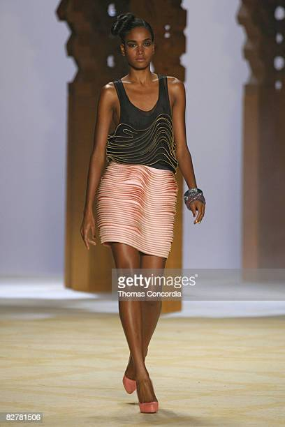 Arlenis Sosa wearing 3.1 Phillip Lim Spring 2009 at The Tent in Bryant Park on September 10, 2008 in New York City.