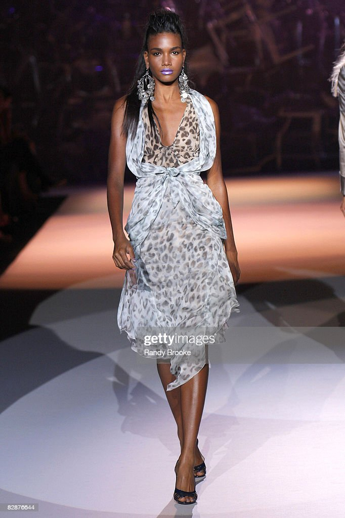 Arlenis Sosa wearing Zac Posen Spring 2009 at The Tent in Bryant Park on September 11, 2008 in New York City.