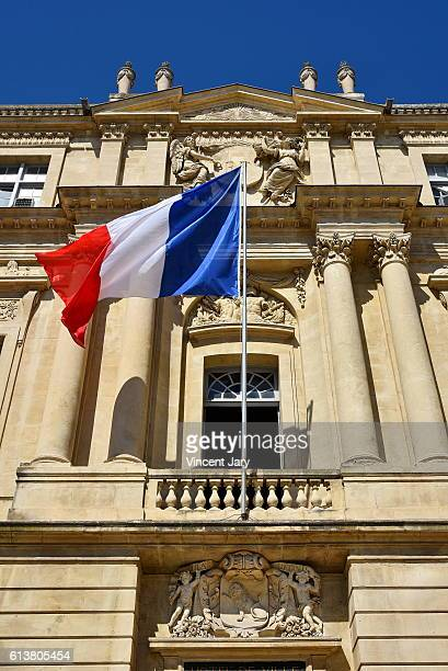 arles city hall at republic square with obelisk france europe - town hall stock pictures, royalty-free photos & images