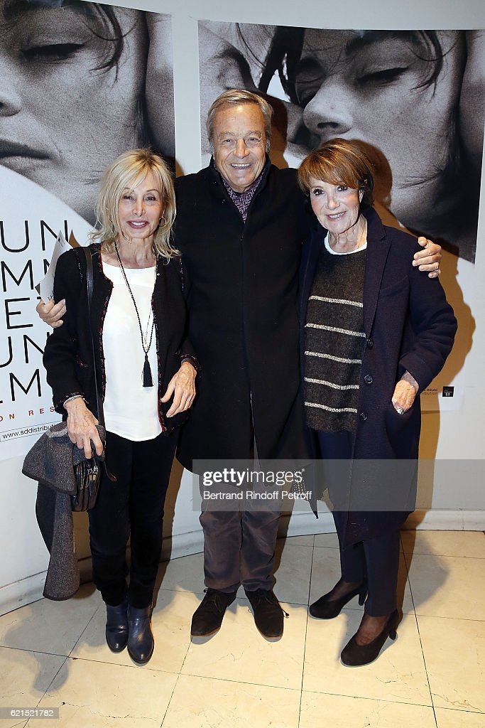 Arlette Gordon, Patrick de Bourgues and Yagel Didier attend 'Un Homme et Une Femme' screening for its 5Oth Anniversary at l'Arlequin on November 6, 2016 in Paris, France.
