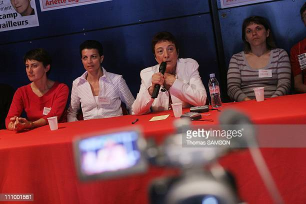 Arlette Laguiller spokesman of 'Lutte Ouvriere' gives the last big meeting of her last campaign in Zenith of Paris Arlette Laguiller at the press...