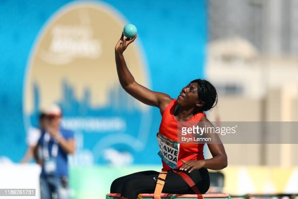 Arlette Mawe Fokoa of Cameroon throws in the Women's Shot Put F57 during Day Two of the IPC World Para Athletics Championships 2019 Dubai on November...