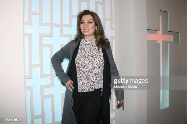 Arlette Pacheco poses for photos during a mass for the first day of filming of the soap opera 'Vencer al silencio' on July 31 2019 in Mexico City...