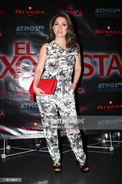 Arlette Pacheco poses for photos during the black carpet of the play 'El Exorcista' at Ramiro Jimenez Theatre on July 16 2019 in Mexico City Mexico