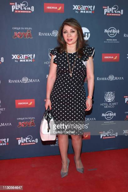 Arlette Pacheco poses for photos during the red carpet for the shortlist presentation of the Premios Platino at Cineteca Nacional on February 18 2019...
