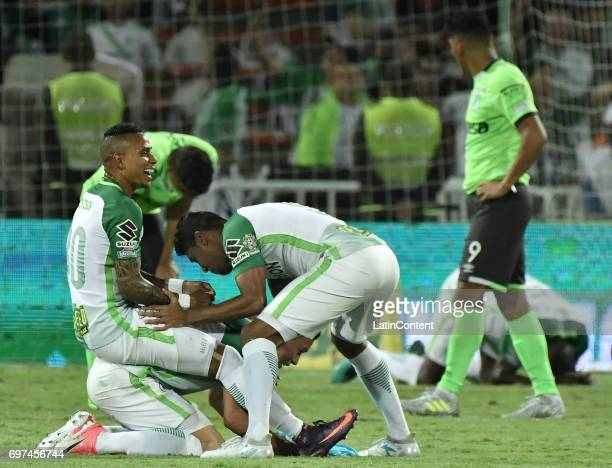 Arley Rodriguez Luis Carlos Ruiz and Matheus Uribe of Atletico Nacional celebrate as champions of the Liga Aguila I 2017 after winning the Final...