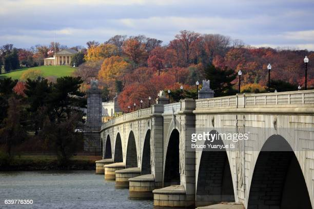 arlington memorial bridge with arlington house in arlington national cemetery in background - washington dc stock pictures, royalty-free photos & images