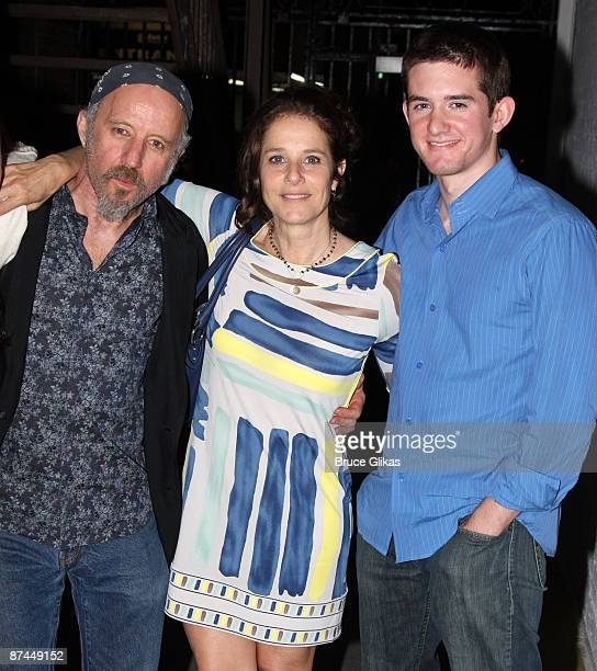 Arliss Howard Debra Winger and son Noah Hutton pose backstage at 'Joe Turner's Come and Gone' on Broadway at The Belasco Theater on May 16 2009 in...