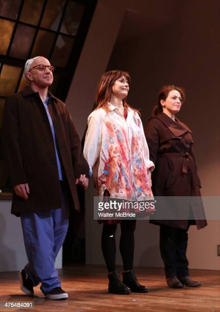 Arliss Howard Kathryn Erbe and Roxanna Hope during the opening night curtain call for 'Ode To Joy' at Cherry Lane Theatre on February 27 2014 in New...