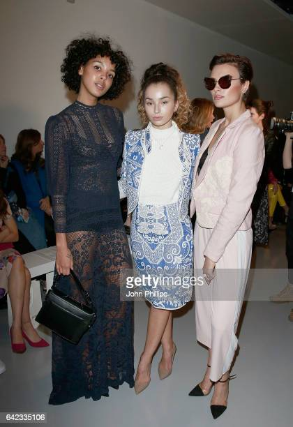 Arlissa Ella Eyre and Wallis Day attend the Bora Aksu show during London Fashion Week February 2017 collections on February 17 2017 in London England
