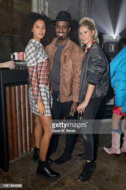 Arlissa Mason Smillie and guest attend the Marques' Almeida x 7 For All Mankind launch party on November 15 2018 in London England