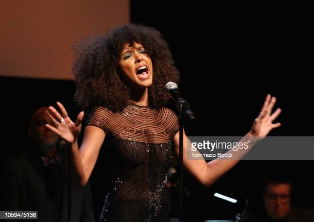 Arlissa performs onstage at the SAGAFTRA Foundation's 3rd Annual Patron of the Artists Awards at the Wallis Annenberg Center for the Performing Arts...