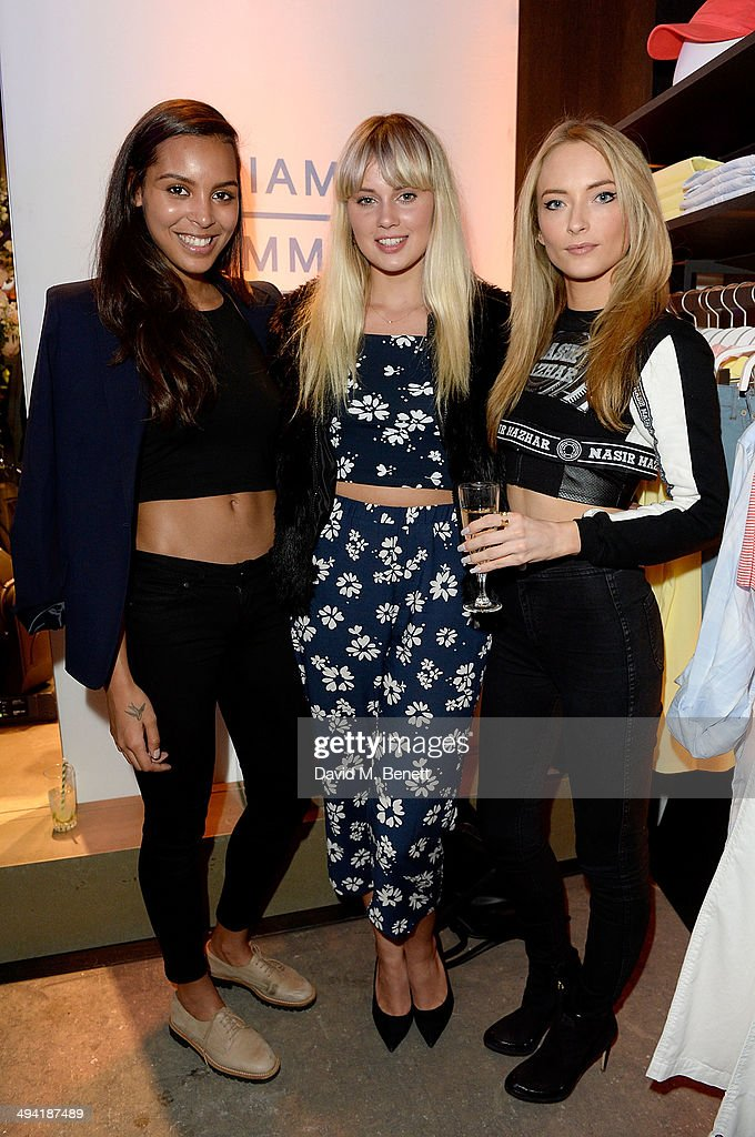 Arlissa, Sasha Keable and Felicity Gilbert attend the Lacoste Store Reopening on May 28, 2014 in London, England.