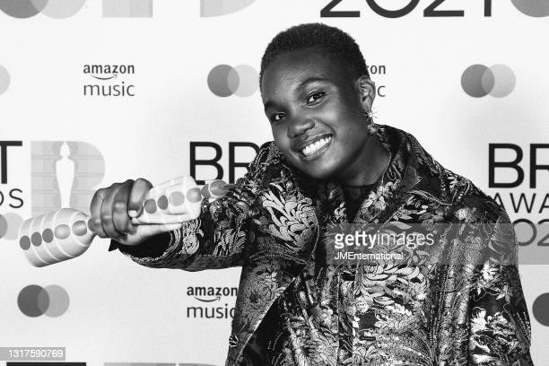 Arlo Parks, winner of the Breakthrough Artist award poses in the media room during The BRIT Awards 2021 at The O2 Arena on May 11, 2021 in London,...
