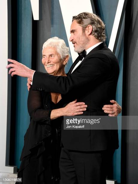 Arlyn Phoenix and Joaquin Phoenix attend the 2020 Vanity Fair Oscar Party hosted by Radhika Jones at Wallis Annenberg Center for the Performing Arts...