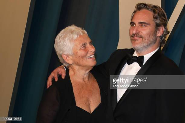 Arlyn Phoenix and Joaquin Phoenix attend the 2020 Vanity Fair Oscar Party at Wallis Annenberg Center for the Performing Arts on February 09 2020 in...