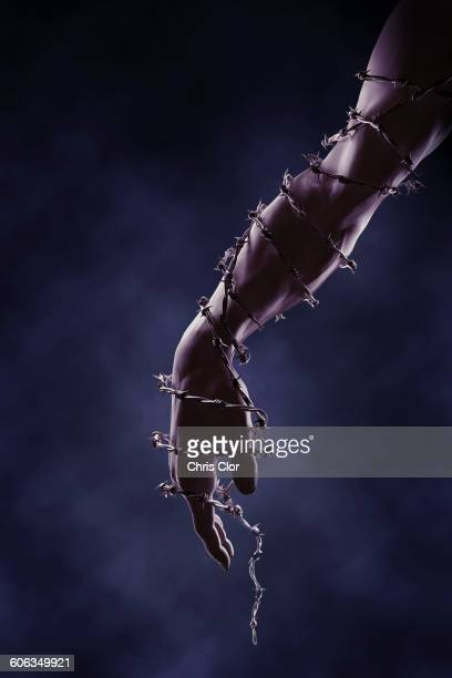 Arm and hand wrapped in barbed wire