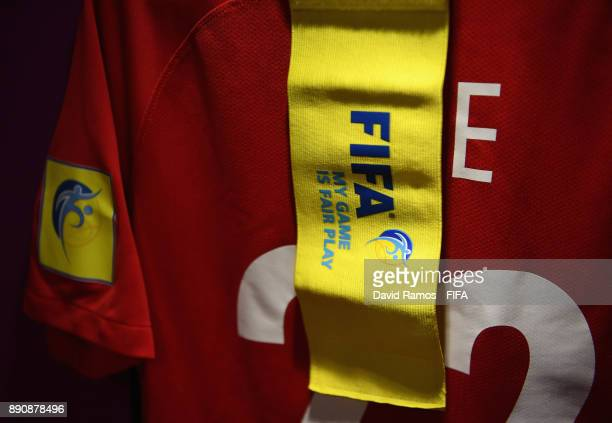 FIFA arm band is seen with Yuki Abe of Urawa Reds shirt in the dressing room prior to during the FIFA Club World Cup UAE 2017 fifth place playoff...