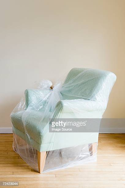 Arm chair protected by plastic