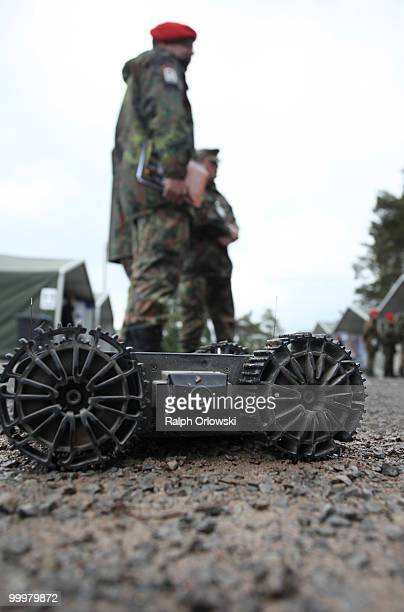 """Armadillo M-UGV"""" ground robot of U.S. Company Macro USA drives during an exibition at the German army base on May 18, 2010 in Hammelburg, Germany...."""