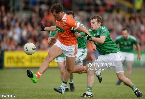 Armagh , Ireland - 25 June 2017; Stephen Sheridan of Armagh in action against Ryan McCluskey and Declan McCusker of Fermanagh during the GAA Football...