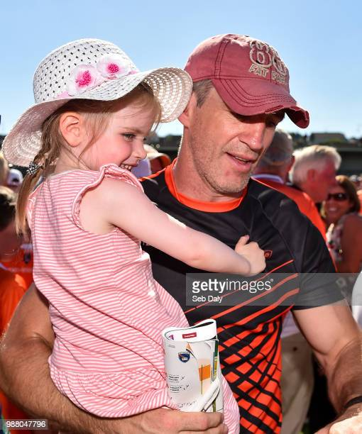 Armagh United Kingdom 30 June 2018 Armagh manager Kieran McGeeney with his daughter Leah age 3 following the GAA Football AllIreland Senior...