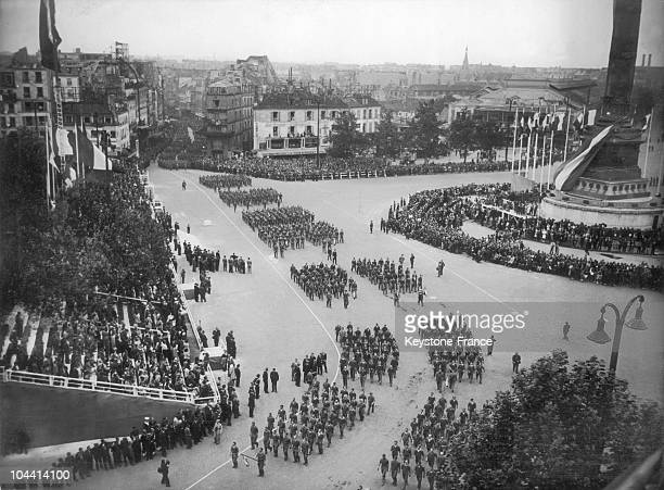 Armament workers parading on Place de la Bastille on July 14 1946