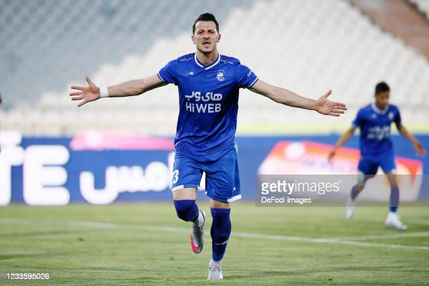 Arman Ramezani of Esteghlal celebrates after scoring his teams first goal during the Persian Gulf Pro League match between Esteghlal and Padideh FC...