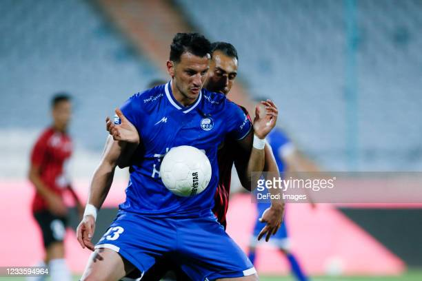 Arman Ramezani of Esteghlal controls the ball during the Persian Gulf Pro League match between Esteghlal and Padideh FC at Azadi Stadium on June 21,...