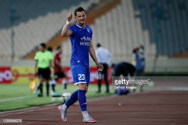 Arman Ramezani of Esteghlal gestures during the Persian Gulf Pro League match between Esteghlal and Padideh FC at Azadi Stadium on June 21, 2021 in...