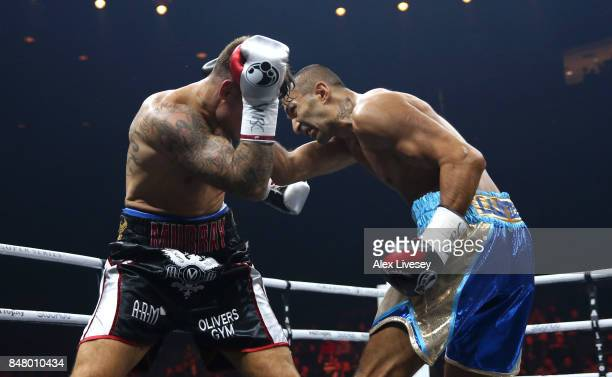 Arman Torosyan lands a right shot on Martin Murray during the WBSS Super Middleweight Substitute fight at Echo Arena on September 16 2017 in...