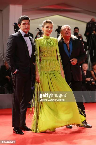 Armand Assante Lola KarimovaTillyaeva and Timur Tillyaev walk the red carpet ahead of the 'The Leisure Seeker ' screening during the 74th Venice Film...