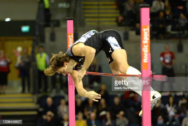 Armand Duplantis of Sweden breaks the world record in the Men's Pole Vault Final during the Muller Indoor Grand Prix World Athletics Tour event at...