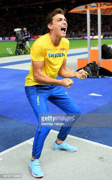 Armand Duplantis of Sweden celebrates after winning gold in the Men's Pole Vault final during day six of the 24th European Athletics Championships at...