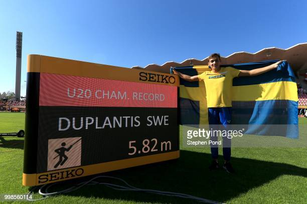 Armand Duplantis of Sweden celebrates setting a new championship record in the final of the men's pole vault on day five of The IAAF World U20...