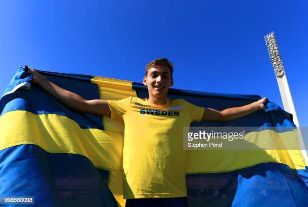 Armand Duplantis of Sweden celebrates winning gold in the final of the men's pole vault on day five of The IAAF World U20 Championships on July 14...